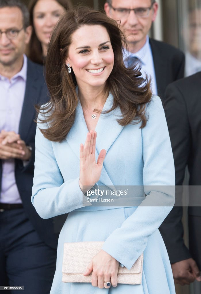 Catherine, Duchess of Cambridge departs the Grand Duke Jean Museum of Modern Art (MUDAM) where she viewed exhibitions by British artists Sir Tony Cragg and Darren Almond during a one day visit on May 11, 2017 in Luxembourg. The Duchess is participating in the official commemoration of the 1867 Treaty of London and will attend a series of engagements to celebrate the cultural and historic ties between the UK and Luxembourg.
