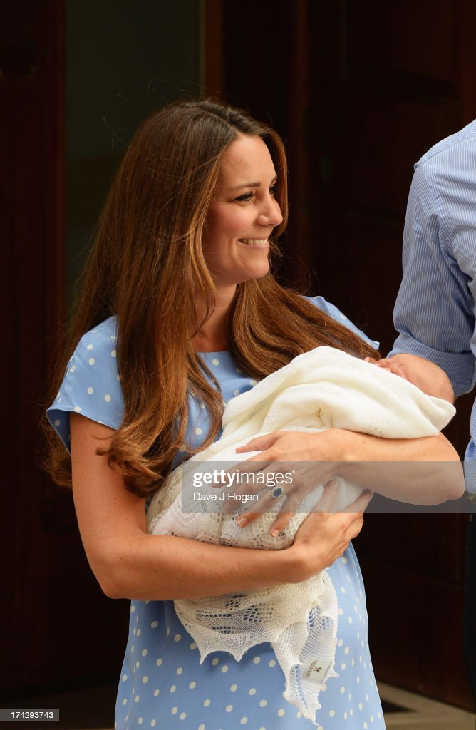 Catherine, Duchess of Cambridge departs The Lindo Wing with her newborn son at St Mary's Hospital on July 23, 2013 in London, England. The Duchess of Cambridge yesterday gave birth to a boy at 16.24 BST and weighing 8lb 6oz, with Prince William at her side. The baby, as yet unnamed, is third in line to the throne and becomes the Prince of Cambridge.