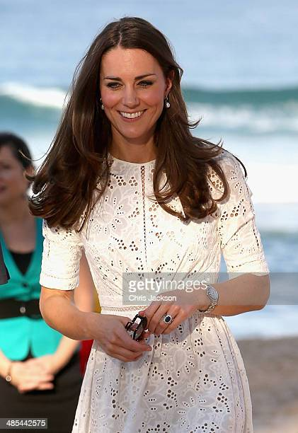 Catherine Duchess of Cambridge during a lifesaving event on Manly Beach on April 18 2014 in Sydney Australia The Duke and Duchess of Cambridge are on...