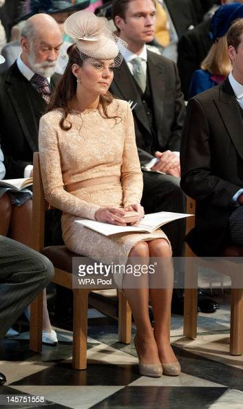 Catherine Duchess of Cambridge during a service of thanksgiving to mark the Queen's Diamond Jubilee at St Paul's cathedral on June 5 2012 in London...