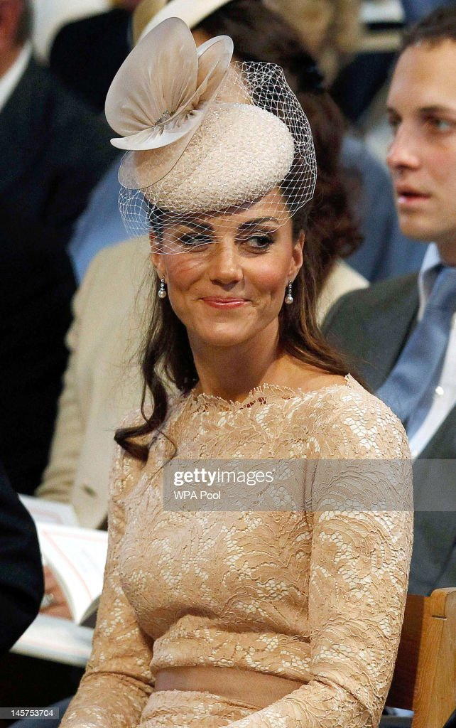 Catherine, Duchess of Cambridge during a service of thanksgiving to mark the Queen's Diamond Jubilee at St Paul's cathedral on June 5, 2012 in London, England. For only the second time in its history the UK celebrates the Diamond Jubilee of a monarch. Her Majesty Queen Elizabeth II celebrates the 60th anniversary of her ascension to the throne today with a carriage procession and a service of thanksgiving at St Paul's Cathedral.