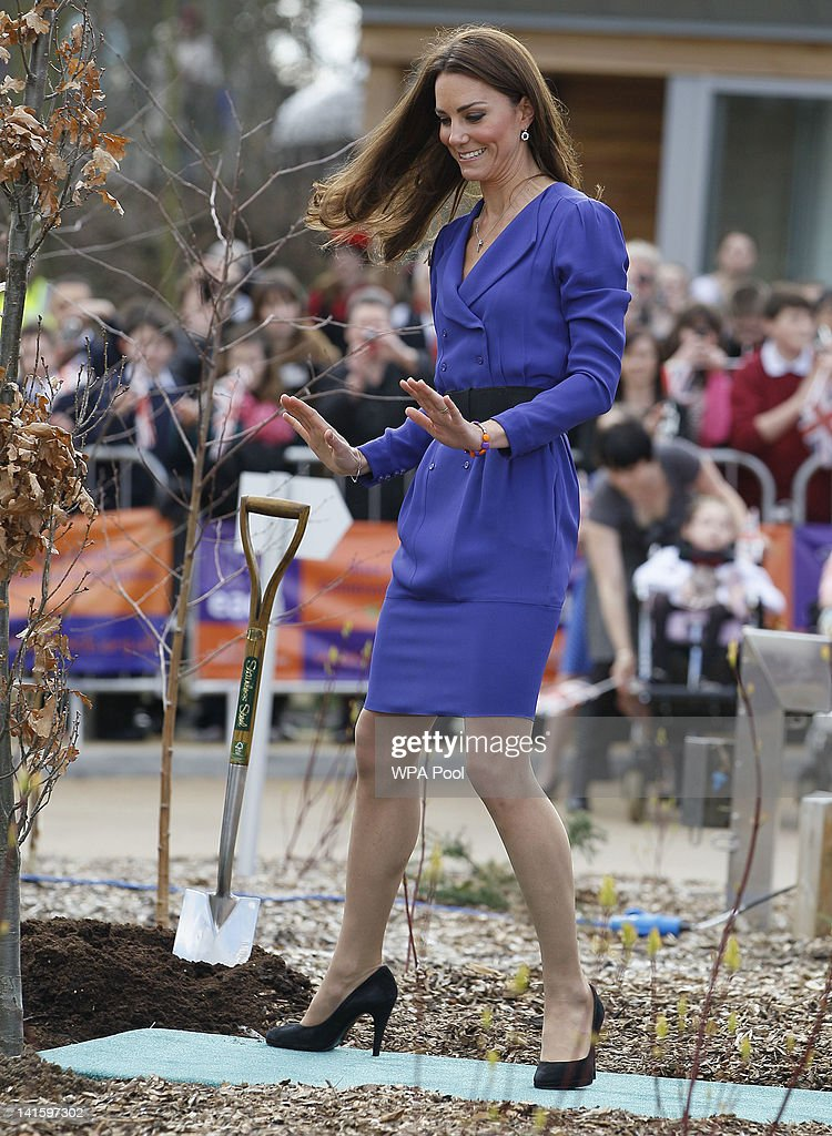 Catherine, Duchess of Cambridge during a tree planting ceremony whilst on a visit to open The Treehouse Children's Hospice on March 19, 2012 in Ipswich, England.