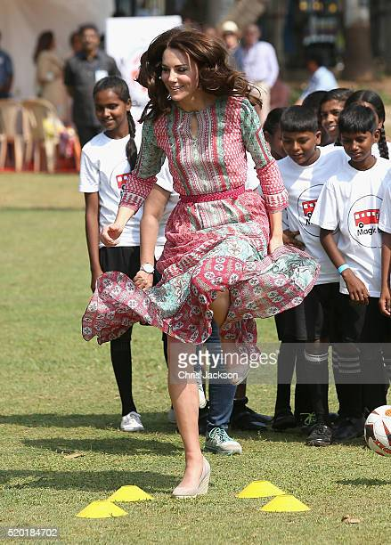 Catherine Duchess Of Cambridge during a visit to meet children from Magic Bus Childline and Doorstep three nongovernmental organizations and watch a...