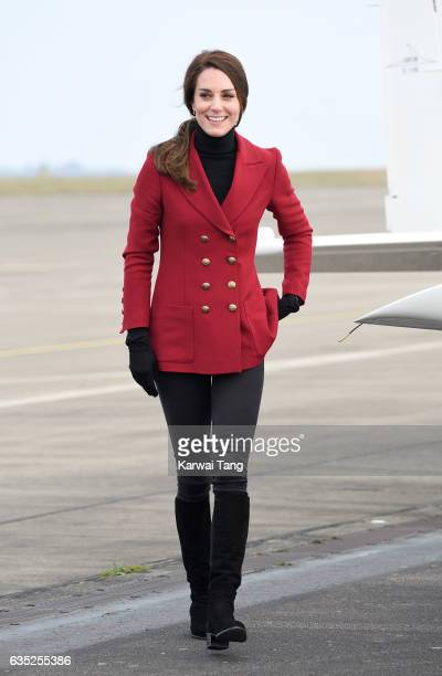 Catherine Duchess of Cambridge during a visit to the RAF Air Cadets at RAF Wittering on February 14 2017 in Stamford England The Duchess of Cambridge...
