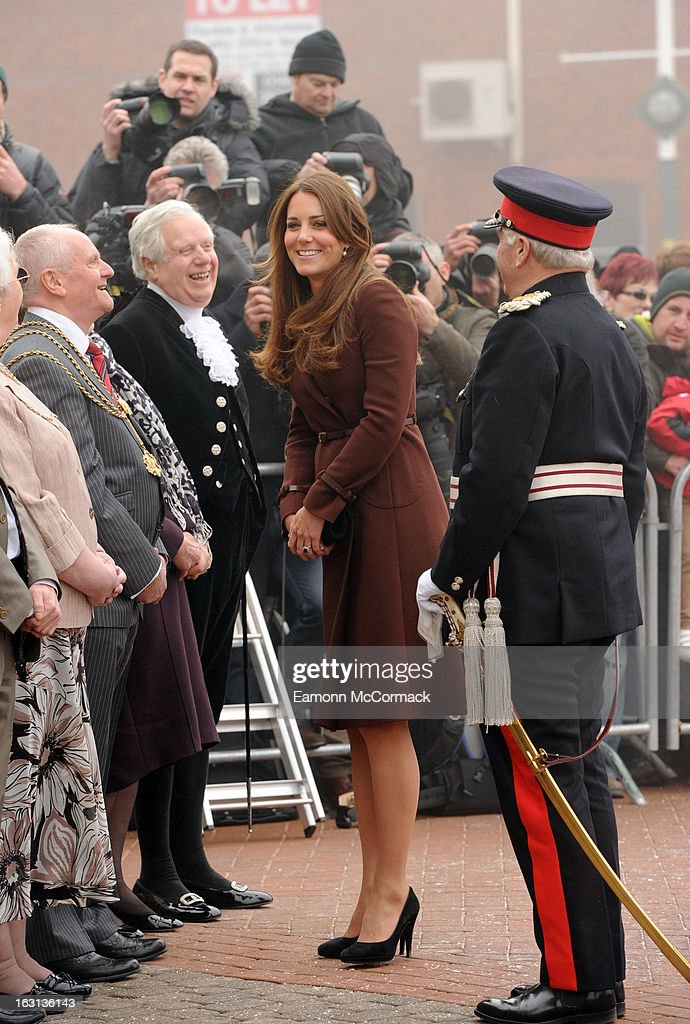 Catherine, Duchess of Cambridge during her official visit to Grimsby on March 5, 2013 in Grimsby, England.