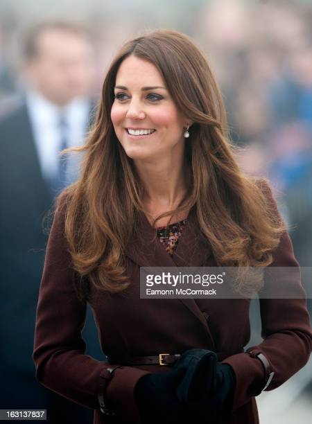 Catherine Duchess of Cambridge during her official visit to Grimsby on March 5 2013 in Grimsby England