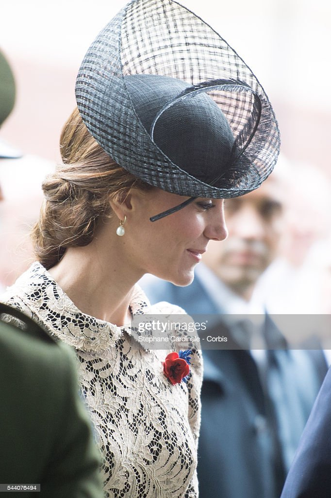 Catherine, Duchess of Cambridge during the Commemoration of the Centenary of the Battle of the Somme at the Commonwealth War Graves Commission Thiepval Memorial on July 1, 2016 in Thiepval, France.