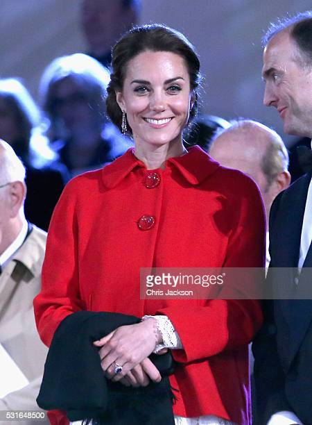Catherine Duchess of Cambridge during the final night of the Queen's 90th Birthday Celebrations at Windsor on May 15 2016 in Windsor England