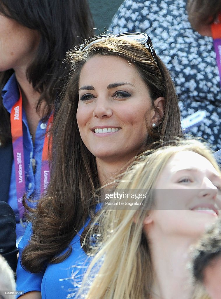 Catherine, Duchess of Cambridge during the match between Andy Murray of Great Britain and Nicolas Almagro of Spain in the Quarterfinal of Men's Singles Tennis on Day 6 of the London 2012 Olympic Games at Wimbledon on August 2, 2012 in London, England.