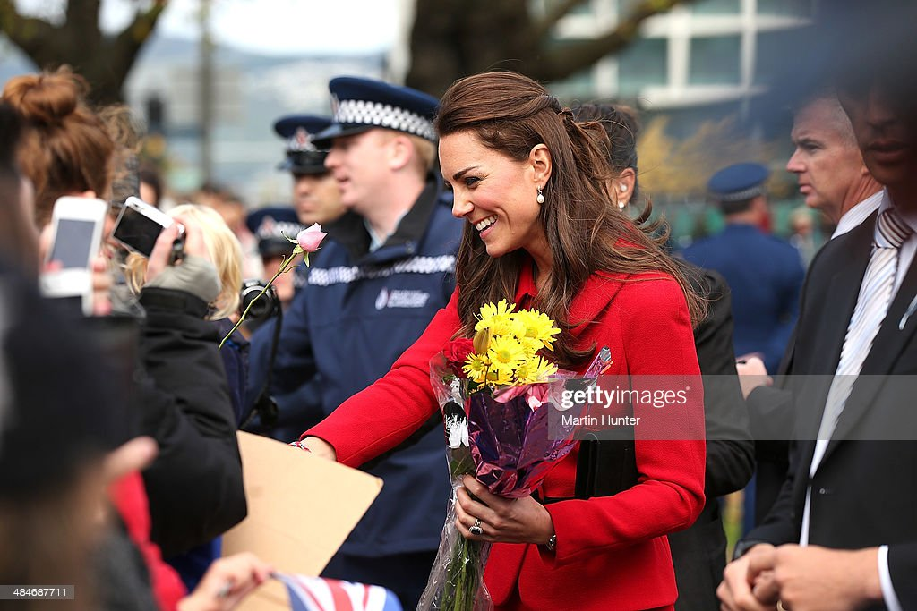 Catherine, Duchess of Cambridge during walk around Latimer Square on April 14, 2014 in Christchurch, New Zealand. The Duke and Duchess of Cambridge are on a three-week tour of Australia and New Zealand, the first official trip overseas with their son, Prince George of Cambridge.