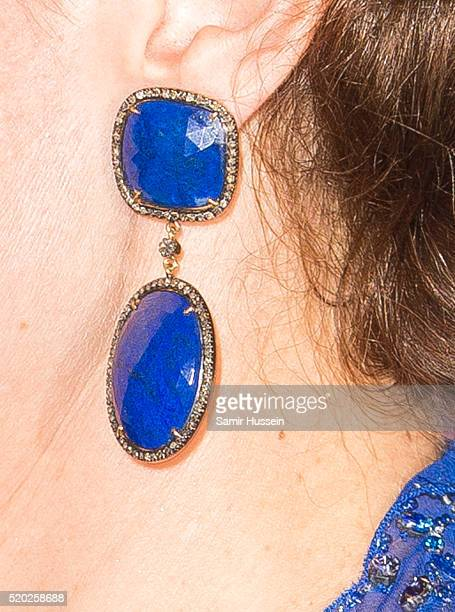 Catherine Duchess of Cambridge earring detail as she arrives for a Bollywood Inspired Charity Gala at the Taj Mahal Palace Hotel during the royal...