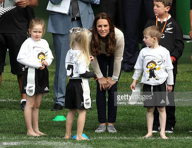 Catherine Duchess of Cambridge eatches a Rippa Rugby tournament at Forsyth Barr Stadium on April 13 2014 in Dunedin New Zealand The Duke and Duchess...