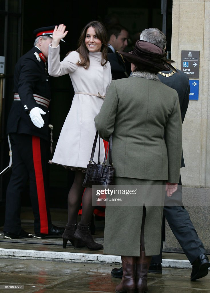 Catherine, Duchess of Cambridge enters the Cambridge Guildhall as they pay an official visit to Cambridge on November 28, 2012 in Cambridge, England.