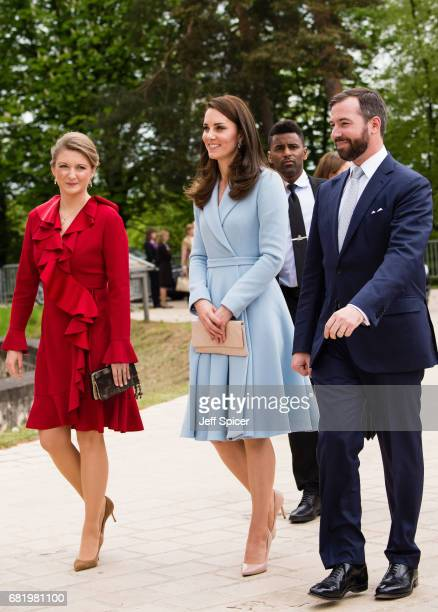 Catherine Duchess of Cambridge escorted by Princess Stephanie of Luxembourg and Prince Guillaume of Luxembourg during a one day visit to Luxembourg...