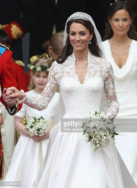 Catherine Duchess of Cambridge exits following her marriage to HRH Prince William Duke of Cambridge at Westminster Abbey on April 29 2011 in London...