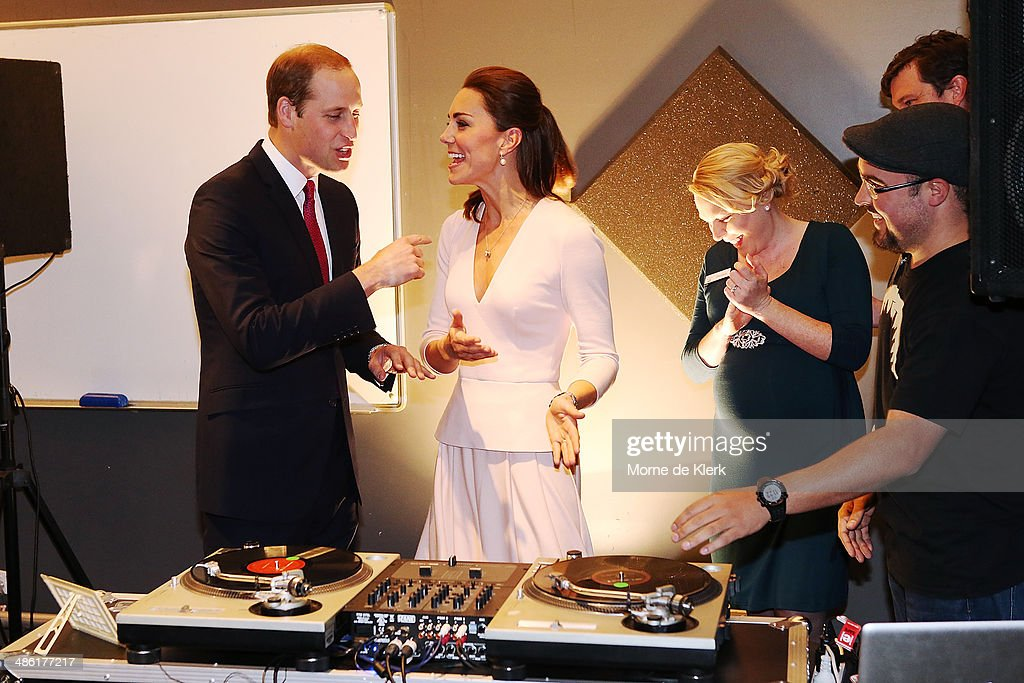 <a gi-track='captionPersonalityLinkClicked' href=/galleries/search?phrase=Catherine+-+Duchess+of+Cambridge&family=editorial&specificpeople=542588 ng-click='$event.stopPropagation()'>Catherine</a>, Duchess of Cambridge gestures to Prince William, Duke of Cambridge to play on DJ decks at the Northern Sound System on April 23, 2014 in Adelaide, Australia. The Duke and Duchess of Cambridge are on a three-week tour of Australia and New Zealand, the first official trip overseas with their son, Prince George of Cambridge.