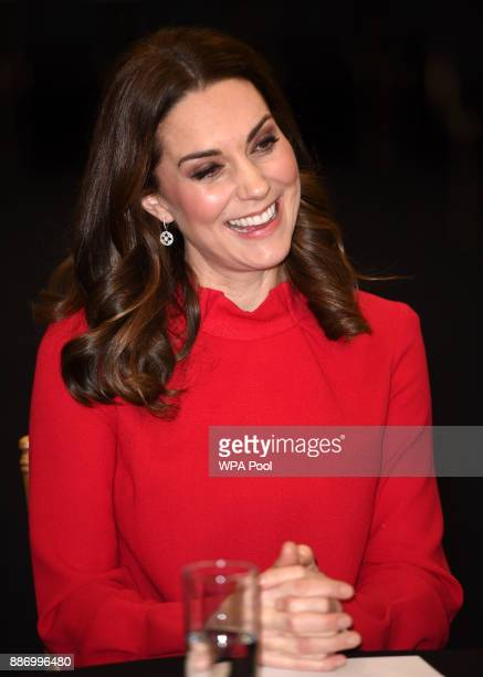 Catherine Duchess of Cambridge gives a keynote speech at the Children's Global Media Summit at the Manchester Central Convention on December 6 2017...