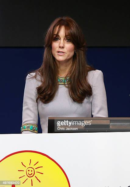 Catherine Duchess of Cambridge gives a speech at the Place2Be Headteacher Conference at Bank of America Merrill Lynch on November 18 2015 in London...