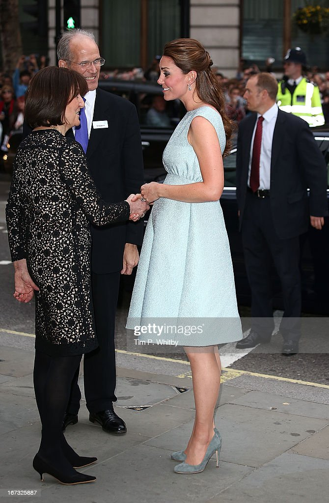 Catherine, Duchess of Cambridge greaes people as she attends an evening reception to celebrate the work of The Art Room charity at The National Portrait Gallery on April 24, 2013 in London, England.