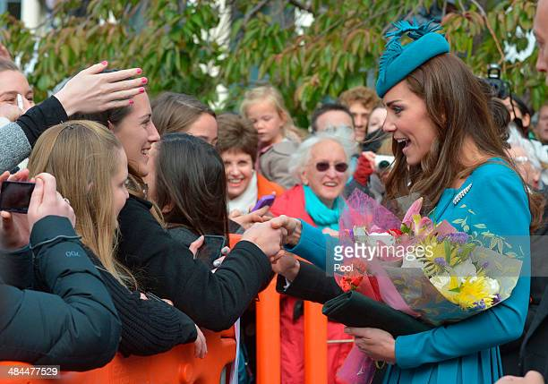 Catherine Duchess of Cambridge greets members of the public after attending a Palm Sunday service at St Paul's Anglican Cathedral on April 13 2014 in...