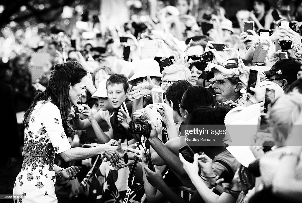 <a gi-track='captionPersonalityLinkClicked' href=/galleries/search?phrase=Catherine+-+Duchess+of+Cambridge&family=editorial&specificpeople=542588 ng-click='$event.stopPropagation()'>Catherine</a>, Duchess of Cambridge greets well wishers on April 19, 2014 in Brisbane, Australia. The Duke and Duchess of Cambridge are on a three-week tour of Australia and New Zealand, the first official trip overseas with their son, Prince George of Cambridge.