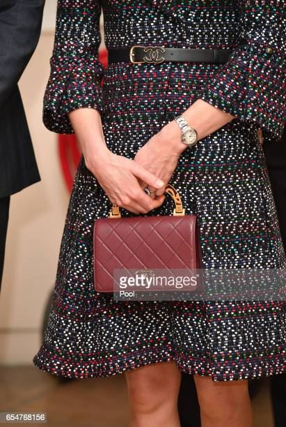 Catherine Duchess of Cambridge handbag detail visits Les Invalides military hospital during an official twoday visit to Paris on March 18 2017 in...