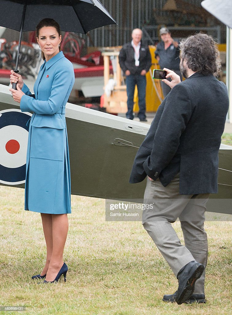 Catherine, Duchess of Cambridge has her photo taken by Sir Peter Jackson at a WW1 commemorative and Flying Day at Omaka Aviation Heritage Centre on April 10, 2014 in Blenheim, New Zealand. The Duke and Duchess of Cambridge are on a three-week tour of Australia and New Zealand, the first official trip overseas with their son, Prince George of Cambridge.