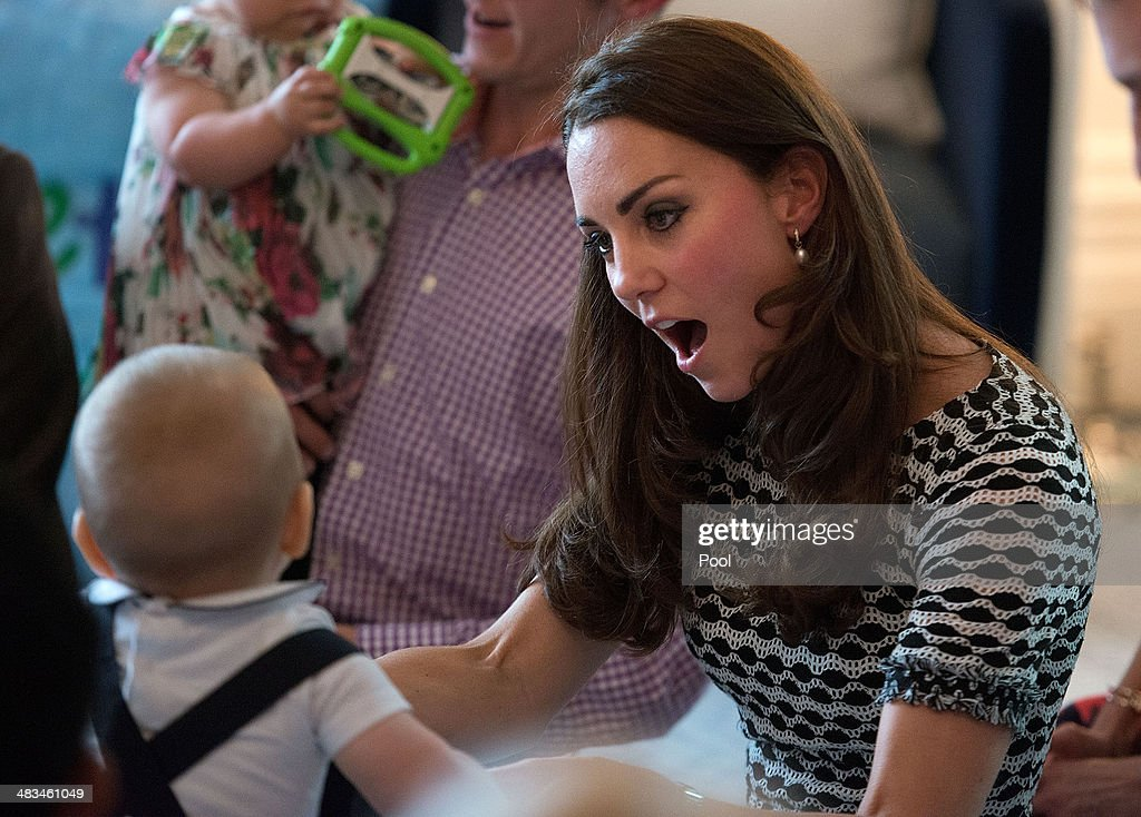 <a gi-track='captionPersonalityLinkClicked' href=/galleries/search?phrase=Catherine+-+Duchess+of+Cambridge&family=editorial&specificpeople=542588 ng-click='$event.stopPropagation()'>Catherine</a>, Duchess of Cambridge holds <a gi-track='captionPersonalityLinkClicked' href=/galleries/search?phrase=Prince+George+of+Cambridge&family=editorial&specificpeople=11176510 ng-click='$event.stopPropagation()'>Prince George of Cambridge</a> during a Plunket nurse and parents group visit at Government House on April 9, 2014 in Wellington, New Zealand. Plunket is a national not-for-profit organization that provides care for children and families in New Zealand. The Duke and Duchess of Cambridge are on a three-week tour of Australia and New Zealand, the first official trip overseas with their son, <a gi-track='captionPersonalityLinkClicked' href=/galleries/search?phrase=Prince+George+of+Cambridge&family=editorial&specificpeople=11176510 ng-click='$event.stopPropagation()'>Prince George of Cambridge</a>.