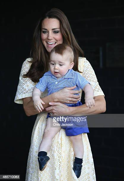 Catherine Duchess of Cambridge holds Prince George of Cambridge as they visit the Bilby Enclosure at Taronga Zoo on April 20 2014 in Sydney Australia...