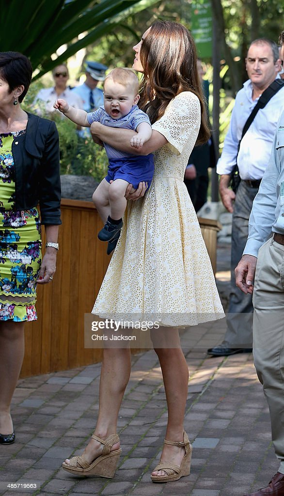 Catherine, Duchess of Cambridge holds Prince George of Cambridge as they visit the Bilby Enclosure at Taronga Zoo on April 20, 2014 in Sydney, Australia. The Duke and Duchess of Cambridge are on a three-week tour of Australia and New Zealand, the first official trip overseas with their son, Prince George of Cambridge.