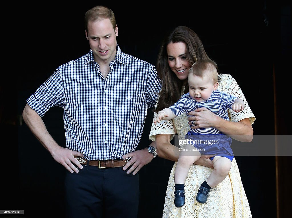 Catherine, Duchess of Cambridge holds <a gi-track='captionPersonalityLinkClicked' href=/galleries/search?phrase=Prince+George+of+Cambridge&family=editorial&specificpeople=11176510 ng-click='$event.stopPropagation()'>Prince George of Cambridge</a> as <a gi-track='captionPersonalityLinkClicked' href=/galleries/search?phrase=Prince+William&family=editorial&specificpeople=178205 ng-click='$event.stopPropagation()'>Prince William</a>, Duke of Cambridge looks on whilst meeting a Bilby called George at Taronga Zoo on April 20, 2014 in Sydney, Australia. The Duke and Duchess of Cambridge are on a three-week tour of Australia and New Zealand, the first official trip overseas with their son, <a gi-track='captionPersonalityLinkClicked' href=/galleries/search?phrase=Prince+George+of+Cambridge&family=editorial&specificpeople=11176510 ng-click='$event.stopPropagation()'>Prince George of Cambridge</a>.