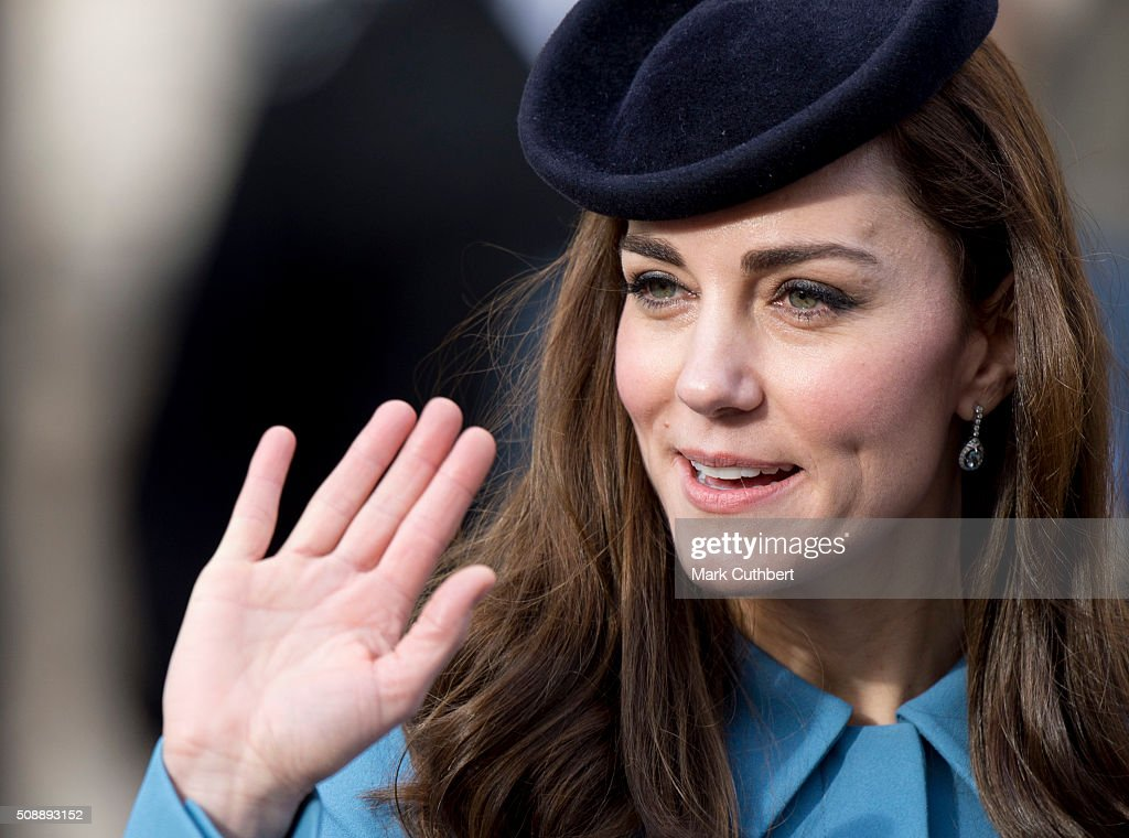 <a gi-track='captionPersonalityLinkClicked' href=/galleries/search?phrase=Catherine+-+Hertiginna+av+Cambridge&family=editorial&specificpeople=542588 ng-click='$event.stopPropagation()'>Catherine</a>, Duchess of Cambridge, Honorary Air Commandant, leaves a reception after a service toÊmark the 75th anniversary year of the RAF Air Cadets at St Clement Danes Church on February 7, 2016 in London, England.