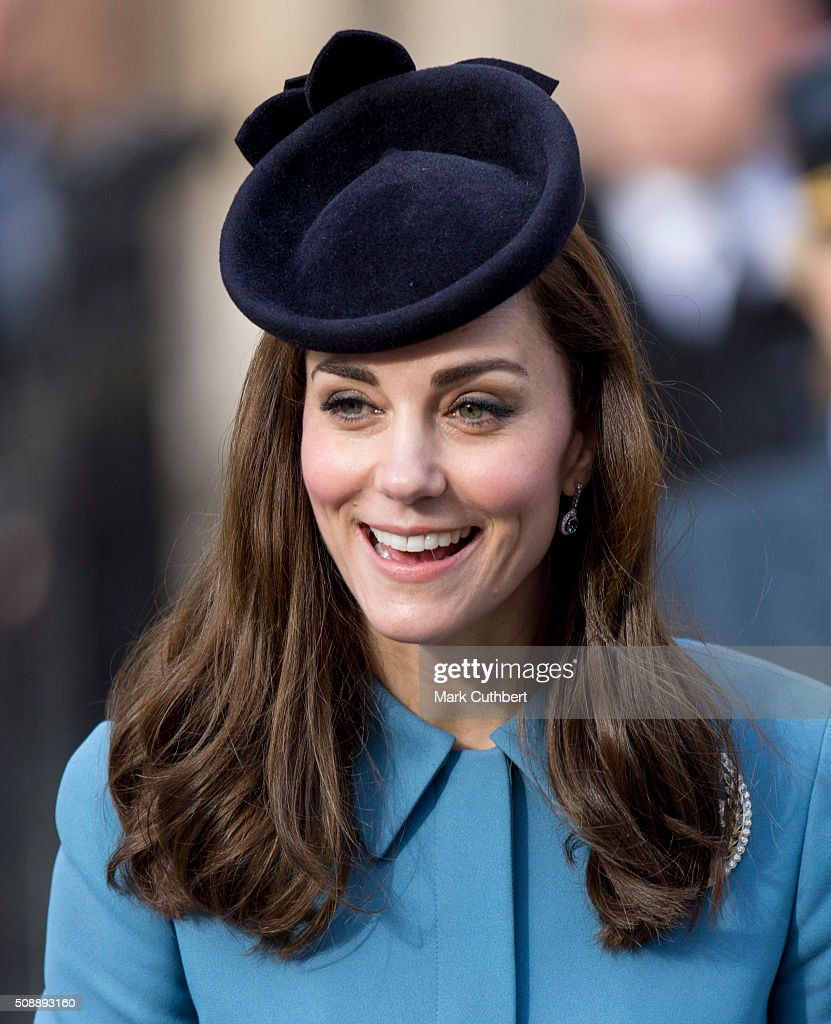 Catherine, Duchess of Cambridge, Honorary Air Commandant, leaves a reception after a service toÊmark the 75th anniversary year of the RAF Air Cadets at St Clement Danes Church on February 7, 2016 in London, England.