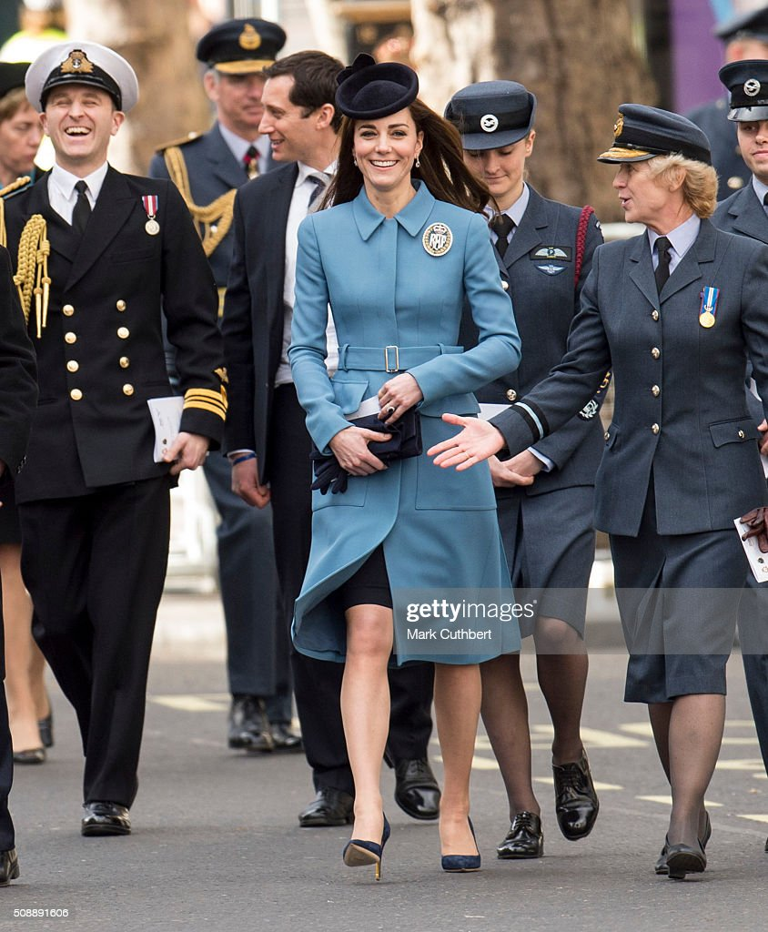 <a gi-track='captionPersonalityLinkClicked' href=/galleries/search?phrase=Catherine+-+Duchess+of+Cambridge&family=editorial&specificpeople=542588 ng-click='$event.stopPropagation()'>Catherine</a>, Duchess of Cambridge, Honorary Air Commandant, walks to a reception after a service to mark the 75th anniversary year of the RAF Air Cadets at St Clement Danes Church on February 7, 2016 in London, England.