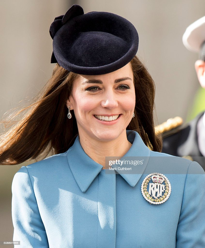 Catherine, Duchess of Cambridge, Honorary Air Commandant, walks to a reception after a service to mark the 75th anniversary year of the RAF Air Cadets at St Clement Danes Church on February 7, 2016 in London, England.