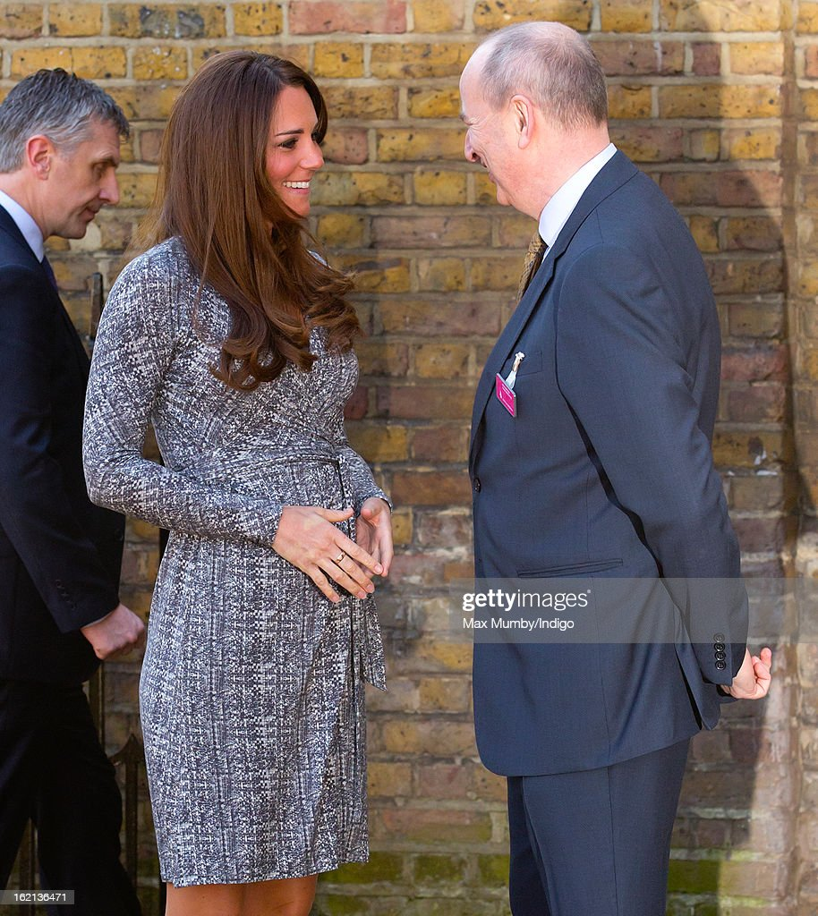 Catherine, Duchess of Cambridge, in her role as Patron of Action on Addiction, is greeted by Nick Barton (Chief Executive of Action on Addiction) as she arrives for a visit to Hope House, a residential treatment centre, on February 19, 2013 in London, England.