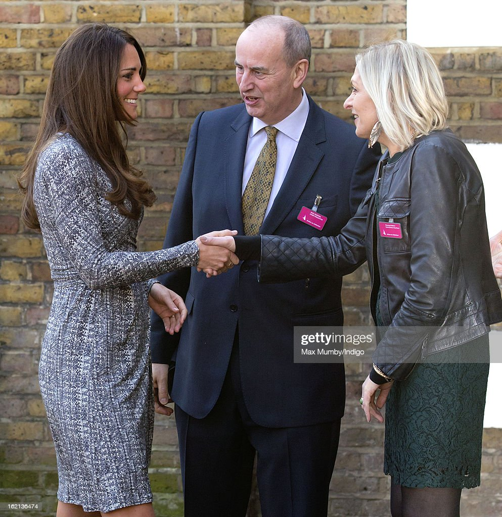 <a gi-track='captionPersonalityLinkClicked' href=/galleries/search?phrase=Catherine+-+Hertiginna+av+Cambridge&family=editorial&specificpeople=542588 ng-click='$event.stopPropagation()'>Catherine</a>, Duchess of Cambridge, in her role as Patron of Action on Addiction, is greeted by Nick Barton (C, Chief Executive of Action on Addiction) as she arrives for a visit to Hope House, a residential treatment centre, on February 19, 2013 in London, England.