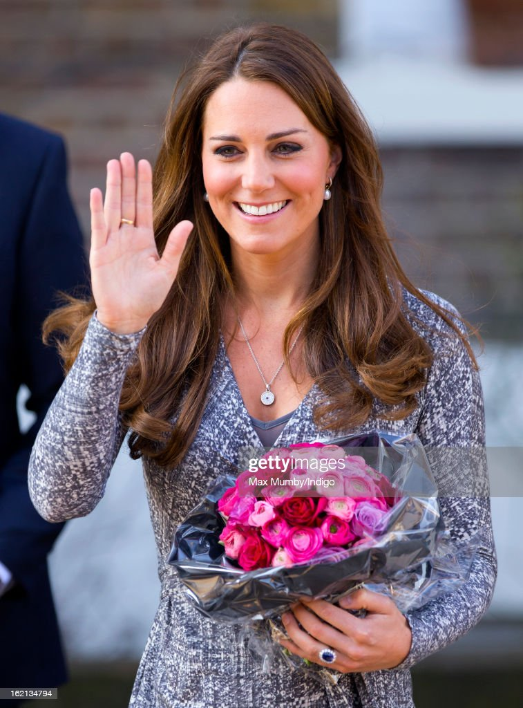 <a gi-track='captionPersonalityLinkClicked' href=/galleries/search?phrase=Catherine+-+Hertiginna+av+Cambridge&family=editorial&specificpeople=542588 ng-click='$event.stopPropagation()'>Catherine</a>, Duchess of Cambridge, in her role as Patron of Action on Addiction, waves as she leaves Hope House, a residential treatment centre, on February 19, 2013 in London, England.