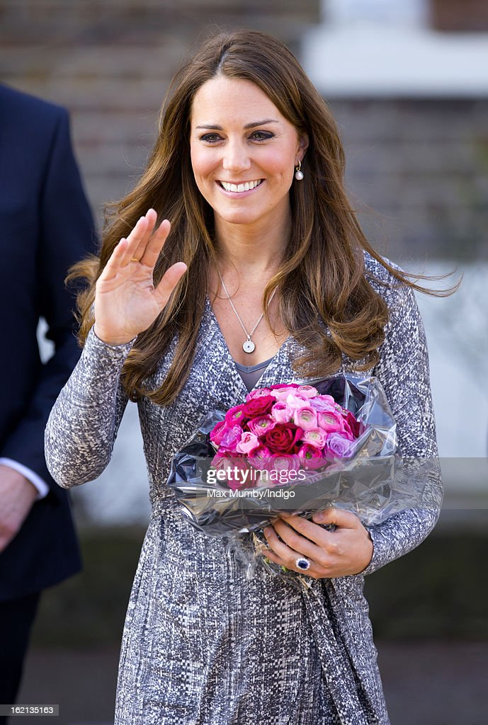 Catherine, Duchess of Cambridge, in her role as Patron of Action on Addiction, waves as she leaves Hope House, a residential treatment centre, on February 19, 2013 in London, England.