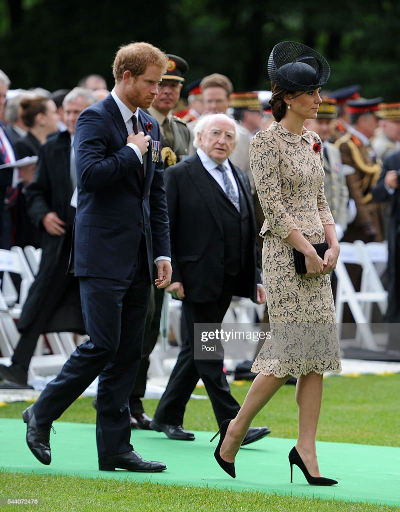 Catherine, Duchess of Cambridge, Irish president Michael D Higgins and <a gi-track='captionPersonalityLinkClicked' href=/galleries/search?phrase=Prince+Harry&family=editorial&specificpeople=178173 ng-click='$event.stopPropagation()'>Prince Harry</a> (left) make their way towards the Thiepval memorial during the Commemoration of the Centenary of the Battle of the Somme at the Commonwealth War Graves Commission Thiepval Memorial on July 1, 2016 in Thiepval, France. The event is part of the Commemoration of the Centenary of the Battle of the Somme at the Commonwealth War Graves Commission Thiepval Memorial in Thiepval, France, where 70,000 British and Commonwealth soldiers with no known grave are commemorated.
