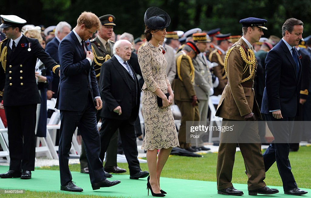 Catherine, Duchess of Cambridge, Irish president Michael D Higgins and <a gi-track='captionPersonalityLinkClicked' href=/galleries/search?phrase=Prince+Harry&family=editorial&specificpeople=178173 ng-click='$event.stopPropagation()'>Prince Harry</a> (left) and British Prime Minister David Cameron make their way towards the Thiepval memorial during the Commemoration of the Centenary of the Battle of the Somme at the Commonwealth War Graves Commission Thiepval Memorial on July 1, 2016 in Thiepval, France. The event is part of the Commemoration of the Centenary of the Battle of the Somme at the Commonwealth War Graves Commission Thiepval Memorial in Thiepval, France, where 70,000 British and Commonwealth soldiers with no known grave are commemorated.