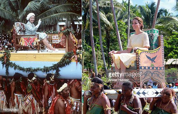 In this composite image a comparison has been made between Queen Elizabeth II's Official Tour Of The South Pacific in 1982 and Catherine Duchess of...