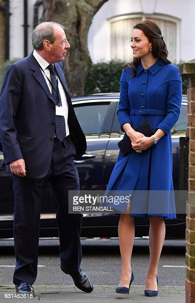 Catherine Duchess of Cambridge is greeted by Chief Executive Officer of the Anna Freud National Centre for Children and Families Peter Fonagy during...