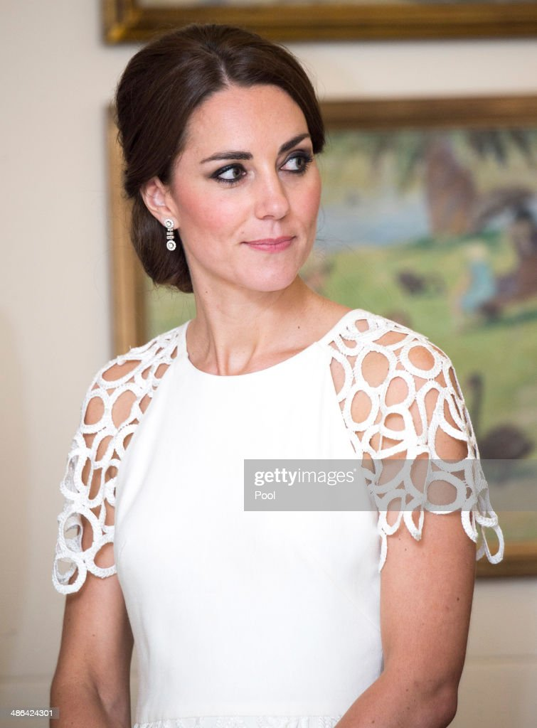 Catherine, Duchess of Cambridge is seen as she attends a reception hosted by the Governor General Peter Cosgrove and Her excellency Lady Cosgrove at Government House on April 24, 2014 in Canberra, Australia. The Duke and Duchess of Cambridge are on a three-week tour of Australia and New Zealand, the first official trip overseas with their son, Prince George of Cambridge.