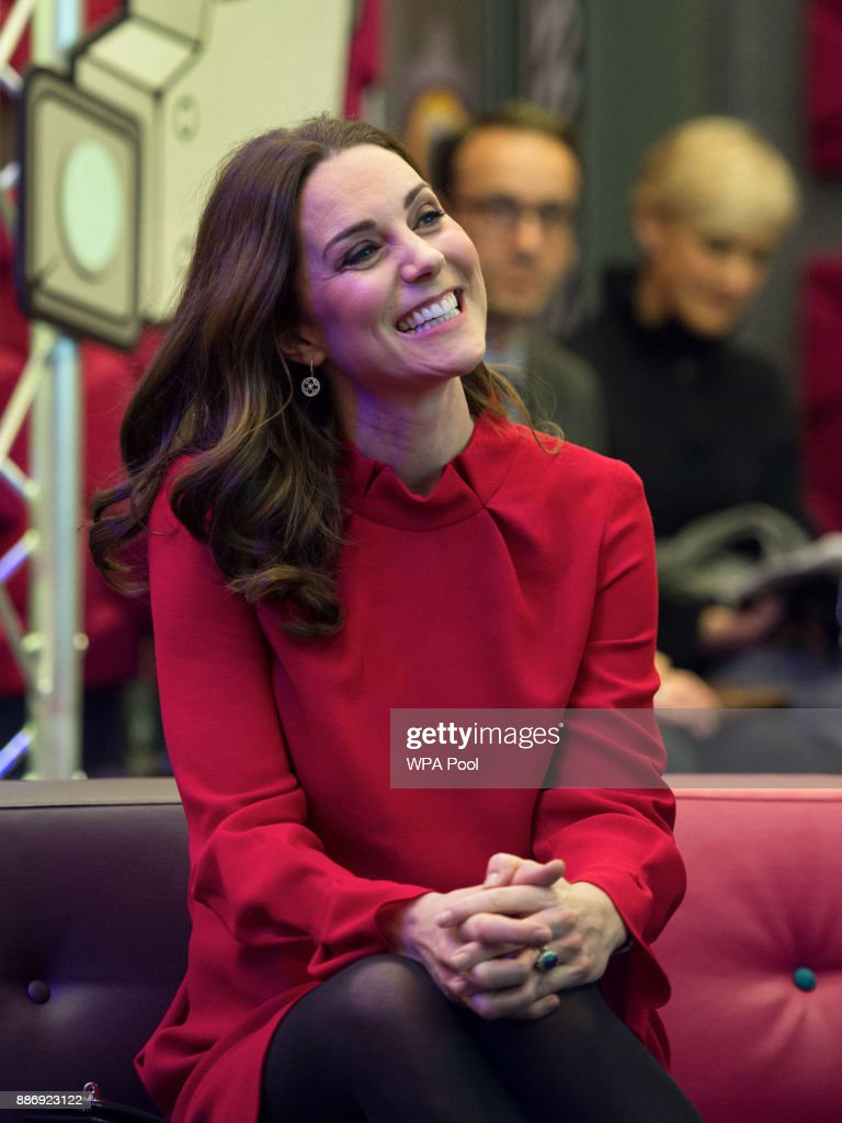 Catherine, Duchess of Cambridge is seen as she meets school children during a 'Stepping Out' session at MediaCityUK on December 6, 2017 in Salford, England.