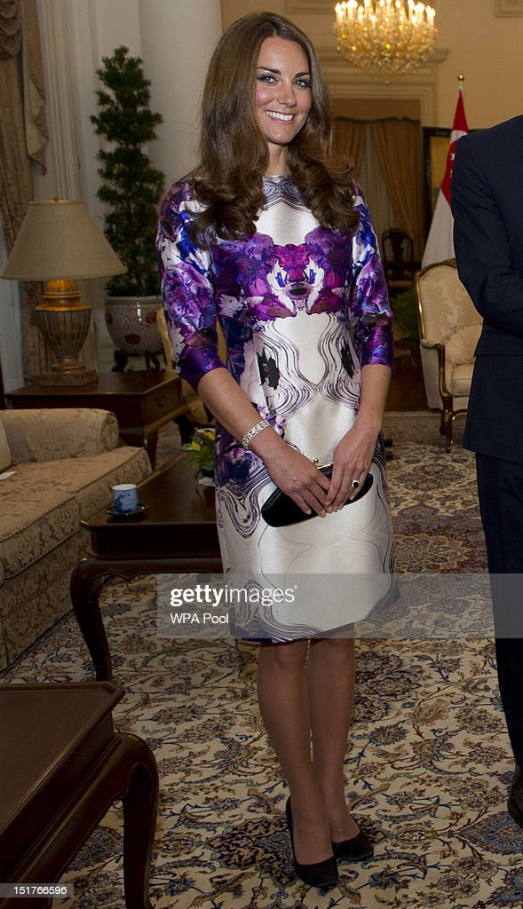 <a gi-track='captionPersonalityLinkClicked' href=/galleries/search?phrase=Catherine+-+Duchess+of+Cambridge&family=editorial&specificpeople=542588 ng-click='$event.stopPropagation()'>Catherine</a>, Duchess of Cambridge is seen as she visits the Istana on day 1 of their Diamond Jubilee tour on September 11, 2012 in Singapore. Prince William, Duke of Cambridge and <a gi-track='captionPersonalityLinkClicked' href=/galleries/search?phrase=Catherine+-+Duchess+of+Cambridge&family=editorial&specificpeople=542588 ng-click='$event.stopPropagation()'>Catherine</a>, Duchess of Cambridge are on a Diamond Jubilee Tour of the Far East taking in Singapore, Malaysia, the Solomon Islands and the tiny Pacific Island of Tuvalu.