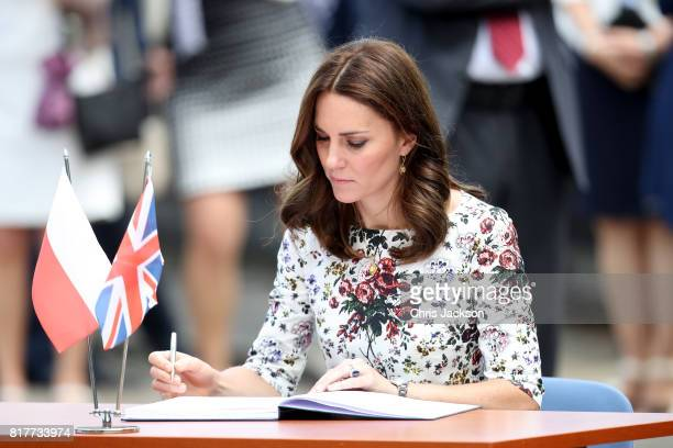 Catherine Duchess of Cambridge is seen at the Stutthof concentration camp during an official visit to Poland and Germany on July 18 2017 in Gdansk...
