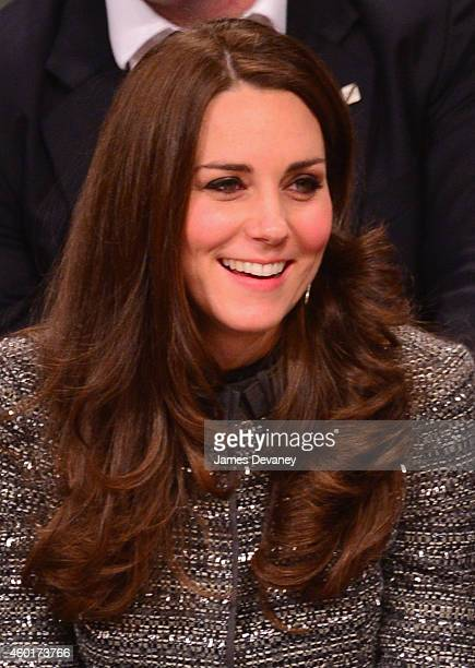 Catherine Duchess of Cambridge is seen courtside as she attends the Cleveland Cavaliers vs Brooklyn Nets game at Barclays Center on December 8 2014...