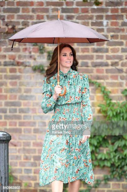 Catherine Duchess of Cambridge is seen during a visit to The Sunken Garden at Kensington Palace on August 30 2017 in London England The garden has...