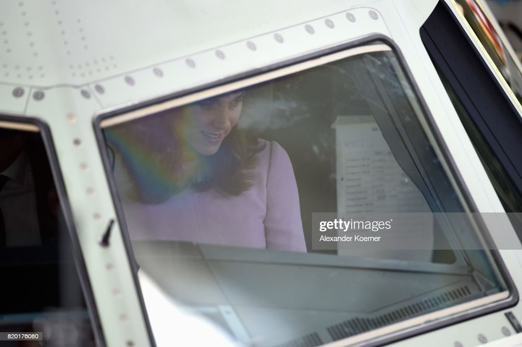 Catherine, Duchess of Cambridge is seen in the cockpit of an Airbus A321 during a visit of the Airbus training facilities on the third and final day of their visit to Germany on July 21, 2017 in Hamburg, Germany. The Duke and Duchess of Cambridge will meet with apprentices, and view the final assembly line of an A321 aircraft.